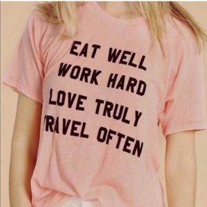 Wildfox Travel Often Mantra Tee Shirt Pink Small
